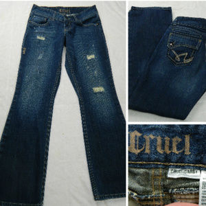 CRUEL GIRL Darby JEANS Distressed 5 5 Long FLARE